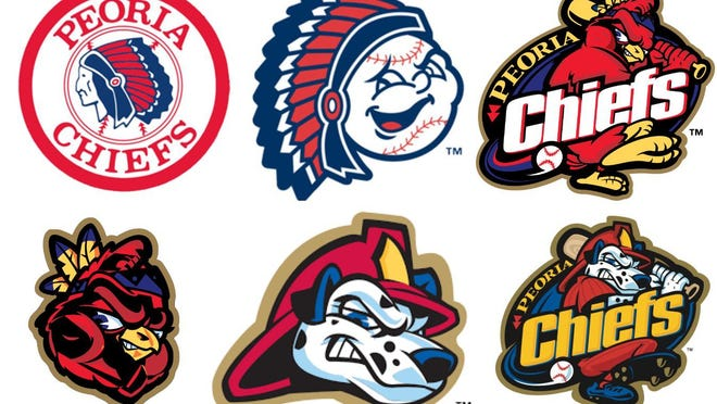 The progression of the Peoria Chiefs logos, from 1985 until current day,