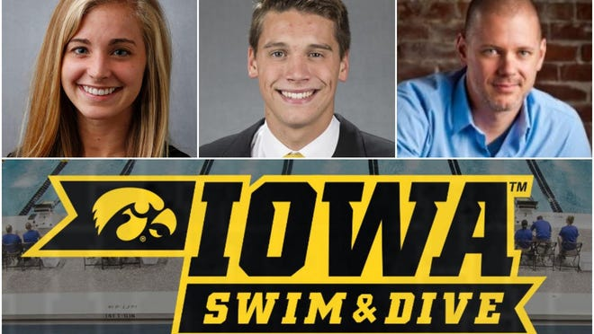 Peoria Notre Dame grads Becky Stoughton, left, and Matt Kamin, center; and Richwoods grad Dan Stoppenhagen, right, are former members of the Iowa swimming and diving program -- which was cut last month.