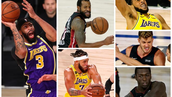 Six players in the 2020 NBA Finals played high school basketball in Illinois. From left, top to bottom, Anthony Davis, Andre Iguodala, JaVale McGee, Talen Horton-Tucker, Meyers Leonard and Kendrick Nunn.