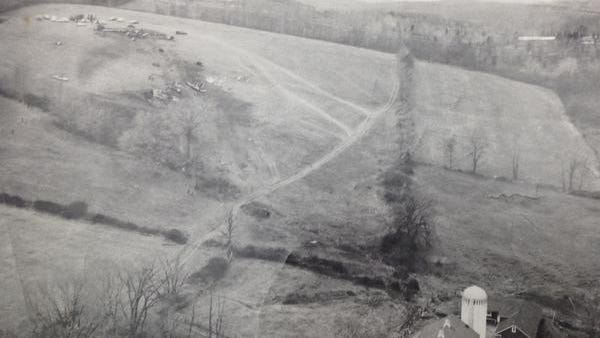 From the North Salem Town Historian showing Hunt Mt. in North Salem the day after an Eastern Airlines plane with 54 people on board crash landed on 12-4-65.