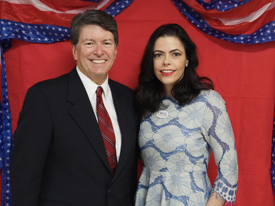 Chele Chiavacci Farley, the Republican candidate to take on Democratic Sen. Kirsten Gillibrand, pictured with Rep. John Faso, R-Kinderhook, Columbia County.