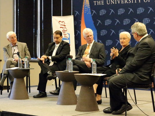 UTEP president Diana Natalicio, second from right speaks