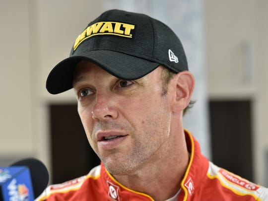 Matt Kenseth talks with members of the media during a tire testing session at Dover International Speedway in Dover.