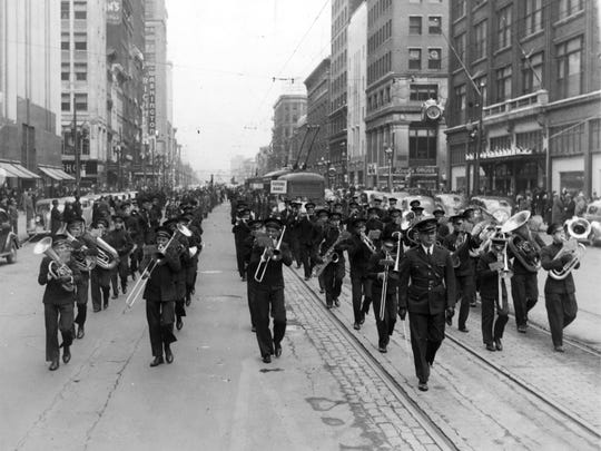 The Indianapolis News Newsboys Band performs in its 40th anniversary parade, April 25, 1940.