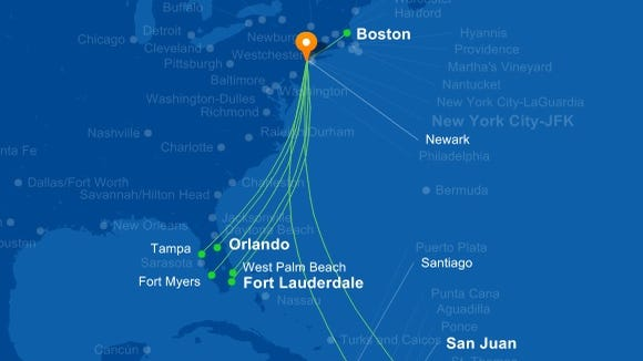 JetBlue's online route map shows the carrier's nonstop