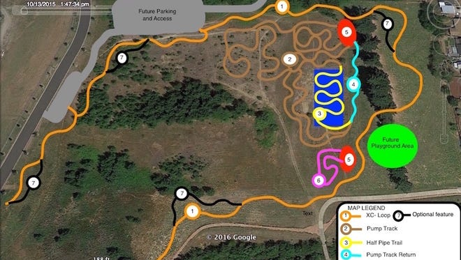An outline of a new trail system and bike park being planned for Geer Community Park in East Salem.