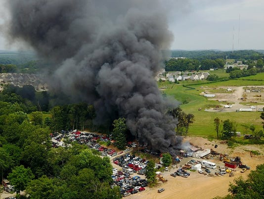 Salvage yard fire