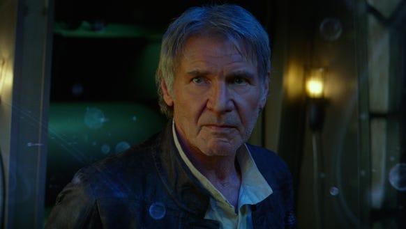 There's no time to cry for Han Solo (Harrison Ford),