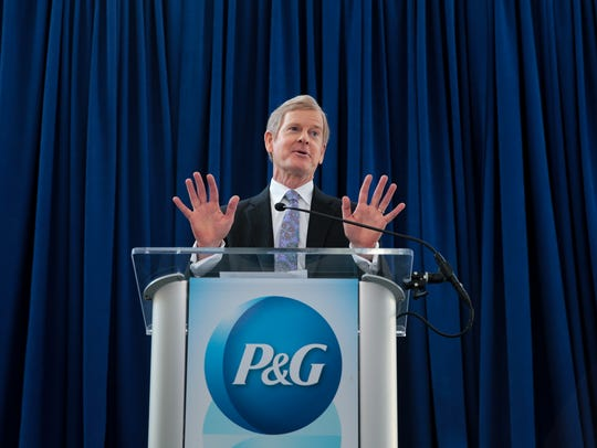 P&G CEO David Taylor answers questions at a news conference