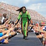 NASCAR Sprint Cup Series driver Danica Patrick before the MyAFibRisk.com 400 at Chicagoland Speedway.
