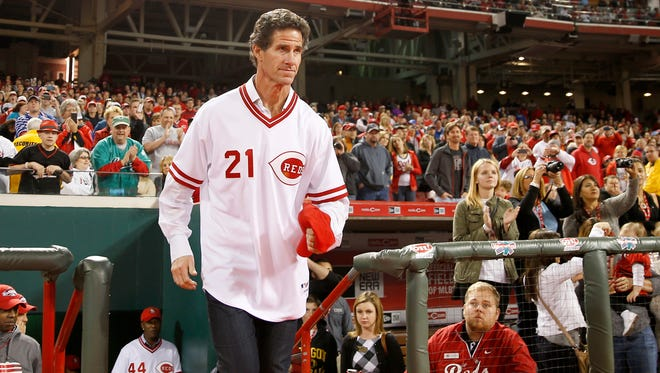 Former Reds outfielder Paul O'Neill takes the field during postgame commemorations of the 1990 World Series Championship team, Friday, April 24, 2015, at Great American Ball Park in Cincinnati.