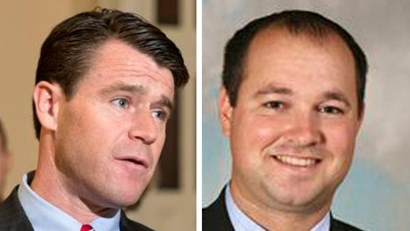 Rep. Todd Young (left), R-Ind., and Rep. Marlin Stutzman, R-Ind.