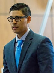 Defendant Tai Chan, former Santa Fe County Sheriff's deputy, appears at 3rd Judicial District Court on Friday May, 27, 2016, where he is charged with 1st degree murder of Jeremy Martin.