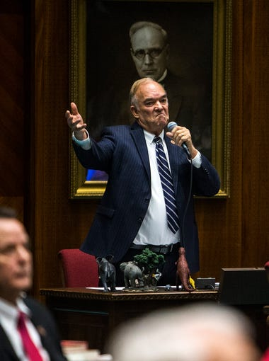 Rep. Don Shooter gives a statement during a vote on whether to remove him from office on Feb. 1, 2018, at the Arizona House of Representatives chambers in Phoenix.