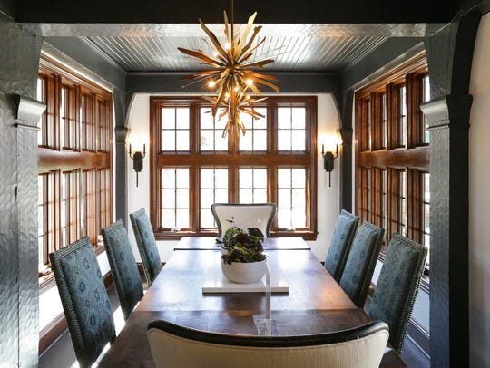 The dining room at the Wainwright-Cochran House was designed by Courtney Walker-Pope and Christina Greive of Polis Interior & Art Design.