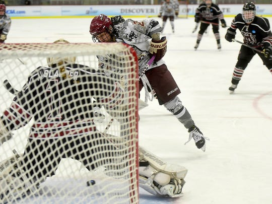 Norwich University junior Robyn Foley slips the puck