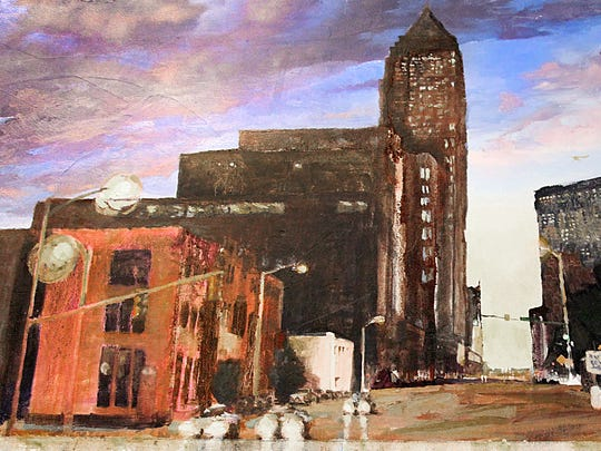 """This painting is called """"OHIO ST. & NEW JERSEY, INDIANAPOLIS."""""""