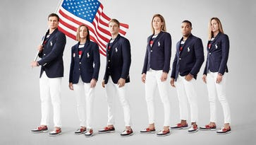 Olympians Ryan Lochte, Melissa Stockwell, Connor Fields, April Ross, Jordan Burroughs and Haley Anderson wear the Ralph Lauren Team USA Opening Ceremony uniforms. Click forward to see the uniforms for every Games going back to 1976.