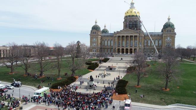 Students rally against gun violence Friday, April 20, 2018, outside the Capitol in Des Moines following school walk outs across Iowa and across the country.