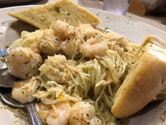Pinchers shrimp scampi with angel hair pasta.