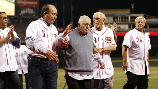 The Reds honored longtime clubhouse manager Bernie Stowe in a postgame ceremony along with Reds Hall of Famers and alumni Johnny Bench (left) and Tommy Helms, along with others, at Great American Ball Park in 2008.