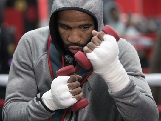 Lamont Peterson warms up during a workout at Gleason's Gym on Wednesday, Jan. 17, 2018, in the Brooklyn borough of New York.