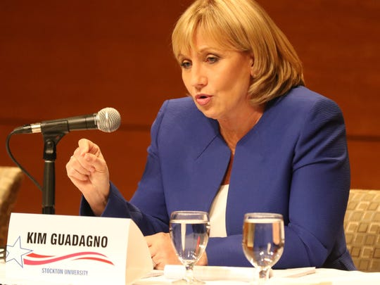 Republican gubernatorial candidate Kim Guadagno makes a point during a debate with the other Republican candidate, Jack Ciattarelli.