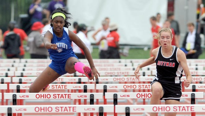St. Peter's senior Alysse Wade, competing here in last year's outdoor state track meet, got the job done again over the weekend in the state indoor meet, breaking her own record in the 60 hurdles.