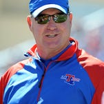 Sep 21, 2013; Lawrence, KS, USA; Louisiana Tech Bulldogs head coach Skip Holtz on the sidelines against the Kansas Jayhawks in the second half at Memorial Stadium. Kansas won 13-10. Mandatory Credit: John Rieger-USA TODAY Sports