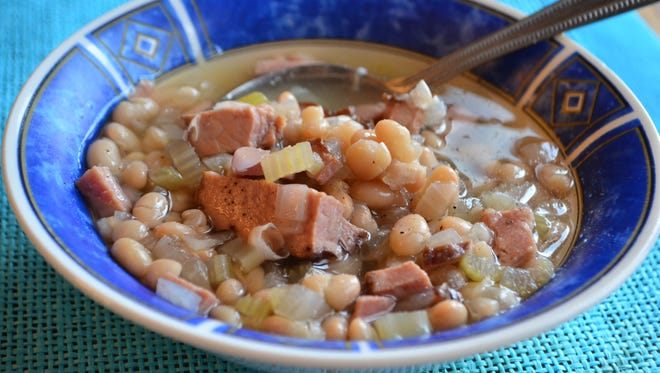 A slow cooker transforms ham and soup beans into an incredibly easy meal. Serve it with a slice of cornbread.