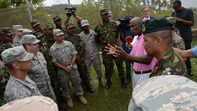 U.S. Ambassador John L. Estrada thanked the Delaware National Guard for their assistance in remodeling the Blanchisseuse Primary School.