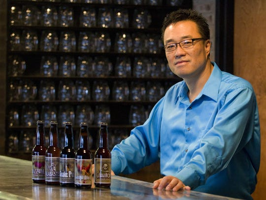 Kwang Casey, owner of the Oaken Barrel brewery in Greenwood,