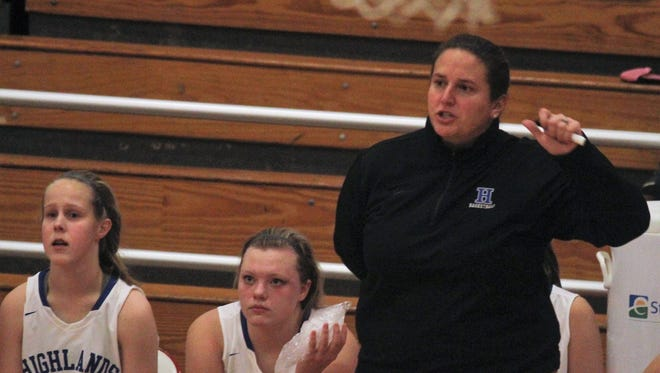 Highlands head coach Jaime Walz Richey instructs her Bluebirds during Highlands' 65-23 win over Bracken County in girls basketball Dec. 9, 2017 in the Donna Murphy Classic at Newport High School, Newport KY.