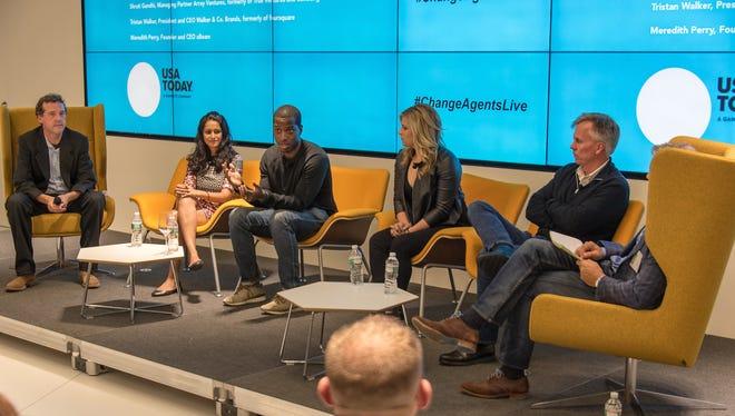 (l-r)Jon Swartz, Shruti Gandhi, Tristan Walker, Meredith Perry, Ron Johnson, Marco Della Cava at a USA TODAY Change Agents Live panel on Sept. 29, 2015 in San Francisco.