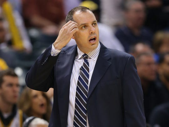Indiana Pacers' head coach Frank Vogel watches from the sidelines during the second half of action. Indiana Pacers play the Atlanta Hawks in game 5 of their Eastern Conference playoff game Monday, April 28, 2014 evening at Bankers Life Fieldhouse.