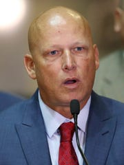 State Sen. Michael Crider, a Greenfield Republican, spoke at a news conference Tuesday, Aug. 2, 2016, at the Indiana Statehouse about planned legislation to protect public safety officials.