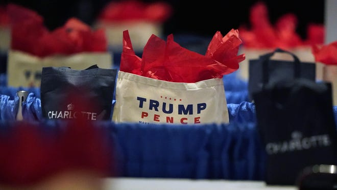 The room is set for the first day of the Republican National Convention, Monday, Aug. 24, 2020, in Charlotte, N.C.