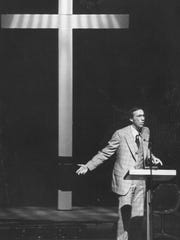 Dr. Jesse Fletcher speaking shortly after his 1977
