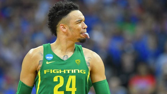 Mar 25, 2017; Kansas City, MO, USA; Oregon Ducks forward Dillon Brooks (24) reacts during the second half against the Kansas Jayhawks in the finals of the Midwest Regional of the 2017 NCAA Tournament at Sprint Center. Mandatory Credit: Denny Medley-USA TODAY Sports