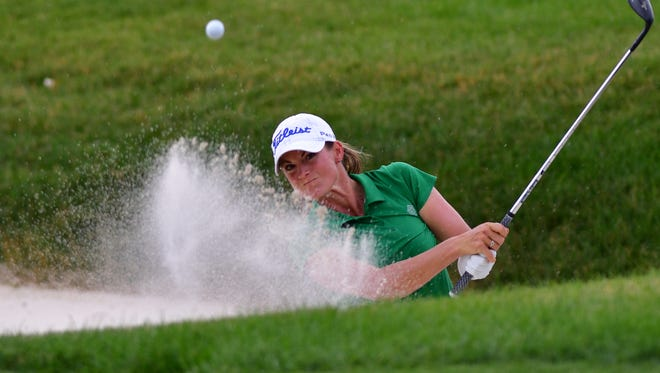 Jessica Carafiello hits the ball out of the bunker during the first round of the KPMG Women's PGA Championship golf tournament at Olympia Fields Country Club - North in Olympia Fields, Ill., on June 29, 2017. Carafiello completed his first winter as a teaching professional at Shadow Wood Country Club in Bonita Springs.