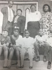 Bowman Chapel in Morganfield celebrated their 120th anniversary in May 1993. Pictured back row from left are Linda Thompson, Reverend Willy Holmes, Annette Smith, Kathleen Gildon, and Brenda Washum. Front row from left are Ashley Garnet, Sherry Willett, Summer Williams, Nick Washum, and Devon Cleaver.