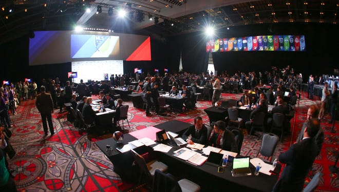 Jan 15, 2015; Philadelphia, PA, USA; General view of the team tables and stage at the 2015 MLS SuperDraft at Philadelphia Convention Center. Mandatory Credit: Bill Streicher-USA TODAY Sports