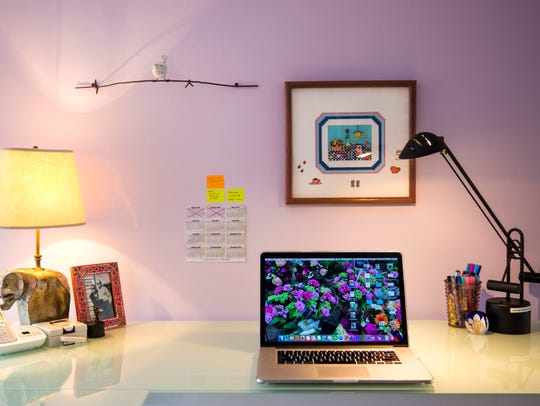 Professional organizer Marla Ottenstein's desk on Monday,