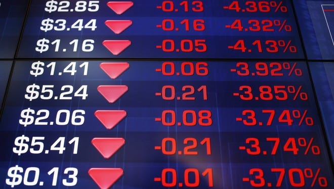 A display board at the Australian Stock Exchange flashes red in Sydney on July 6, 2015.