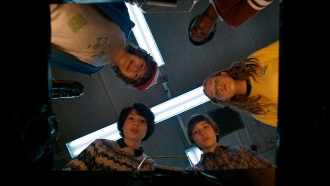 Dustin (Gaten Matarazzo, left), Lucas (Caleb McLaughlin), Max (Sadie Sink), Will (Noah Schnapp) and Mike (Finn Wolfhard) find the Demogorgon's spawn in 'Stranger Things.'