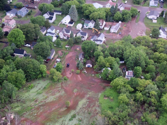 Aerial images show flooding damage to Houghton County taken from a Michigan State Police helicopter on Monday, June 18, 2018.