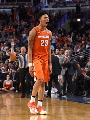 Syracuse Orange guard Malachi Richardson (23) reacts against the Virginia Cavaliers during the second half in the championship game of the midwest regional of the NCAA tournament at United Center.