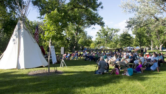 Locals and visitors watch a presentation at last year's Lewis and Clark Festival. The 2016 festival takes place June 17-19 in Gibson Park.