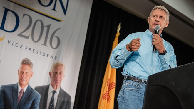 Libertarian presidential candidate and former New Mexico Gov. Gary Johnson speaks during a campaign rally Saturday Aug. 20, 2016, in Alburquerque.