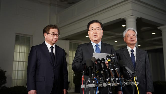 South Korean national security adviser Chung Eui-yong briefs reporters outside the West Wing of the White House on Thursday.
